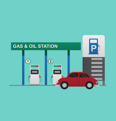 gas station pump with red car vector image