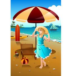 Girl at the beach vector