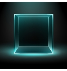 Glass Box on Dark Background with Blue Backlight vector