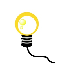 Glowing Yellow Light Bulb on White Background vector image