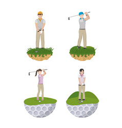 golf player cartoons collection vector image