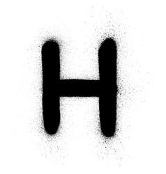 Graffiti russian cyrillic n font sprayed in black vector