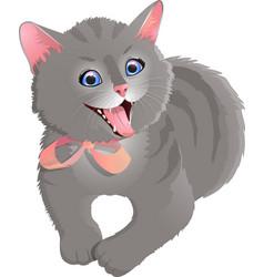 Gray smiling cat vector