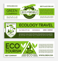 Green travel and ecotourism banner template design vector