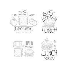 hand drawn logos for menu cafe or vector image