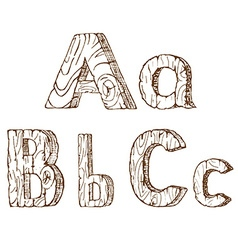 Hand-drawn wooden alphabet A B C vector image