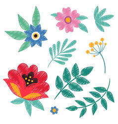 hand embroidery ethnic floral elements isolated on vector image