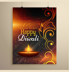 Happy diwali wishes flyer design with diya and vector