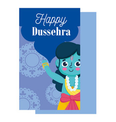 happy dussehra festival india religious lord vector image