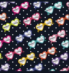 heart shaped sunglasses pattern on pop art on vector image