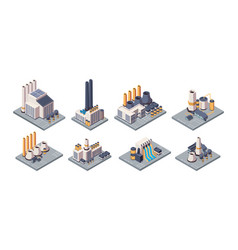 industrial plants isometric factory buildings vector image
