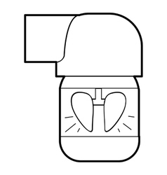 Inhaler for lung icon outline style vector