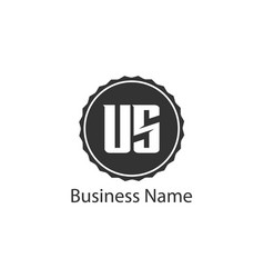 initial letter us logo template design vector image