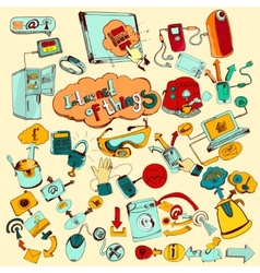 Internet Of Things Doodles Colored vector