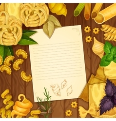Italian pasta with recipe on wooden background vector image