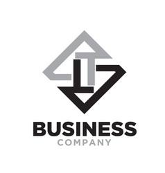 L t business logo designs flat vector