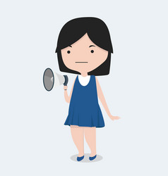 little girl with megaphone vector image