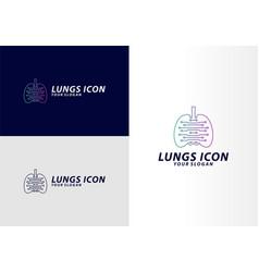 Lung tech logo concept digital lungs logo vector