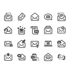 mail message icons set of newsletter e-mail vector image