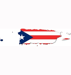 Map of Puerto Rico with flag vector
