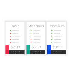 Minimal web plans and pricing comparision vector