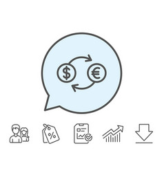 money exchange line icon banking currency vector image