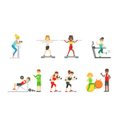 people doing sports in gym with equipment vector image