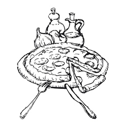 pizza sketch vector image