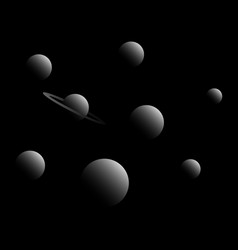 planets of the solar system cosmos in black and vector image