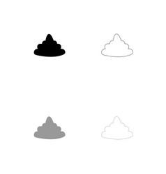 Poo black and grey set icon vector