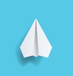realistic white paper plane on pastel blue back vector image