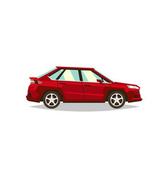 red car sedan side view transport for travel vector image