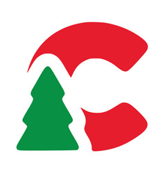 Red letter c with fir clip art christmas vector
