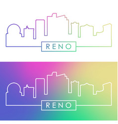 reno skyline colorful linear style editable vector image