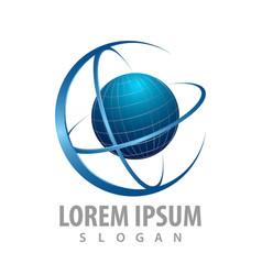 Rotate circle orbit planet logo concept design vector