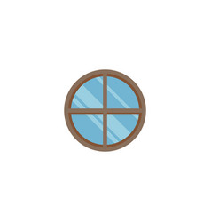 round window icon flat element vector image