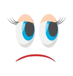 Sad face icon cartoon style vector
