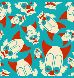 Scary clown pattern seamless terrible ornament vector