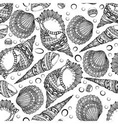Seamless pattern of decorative seashells vector image