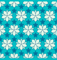 Seamless pattern of linear flowers colore vector