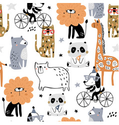 seamless pattern with cartoon hand drawn vector image