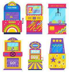 set colorful game machines arcades vector image