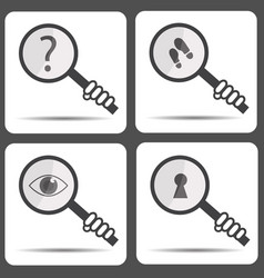 Set icons with a magnifying glass detective icon vector