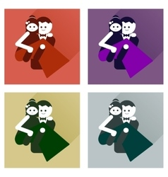 Set of flat icons with long shadow groom holds his vector