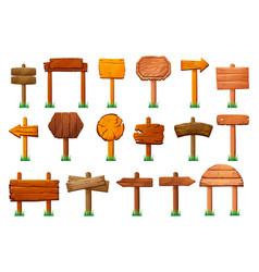 signs on wood pillars isolated signboards pointers vector image