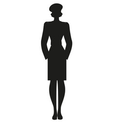 silhouette lady dressed in retro military vector image