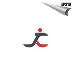 simple jc initial monogram design template vector image