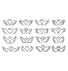 Sketch wing pair angel wings with halo cute vector