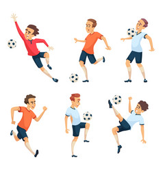 Soccer characters playing football isolated sport vector