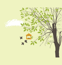 spring landscape with tree birds and bird feeder vector image